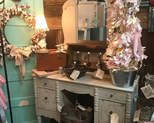 Wide variety of antiques, repurposed furniture, jewelry, homemade soaps and bath bombs, fresh ma
