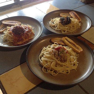 Pasta offerings: Banana Blossom, Laing, Bicol Express