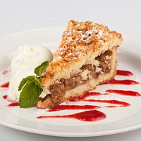 Signature Apple crumble with Ice-cream and mashed Strawberries