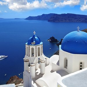 The blue-domed church in Oia is one of Santorini's most famous.