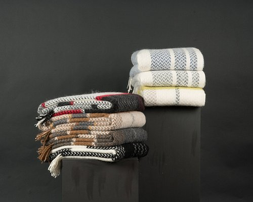 Icelandic wool blankets with traditional patterns, made exclusively for Rammagerdin.