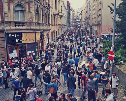 Coolest street in Prague. A lot of restaurants, bars and other cozy places. More than 30 spots i
