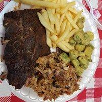 Ribs, pulled pork, fries, okra