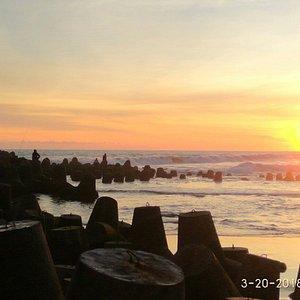Sunset in Tanjung Adikarto Harbour