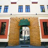 Main entrance in Beer Cultural Experience Center Lvivarnya in Lviv