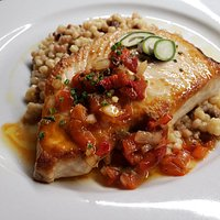 Fresh Atlantic Swordfish Loin - Fresno Pepper Sofrito, Fregola, Green Almonds