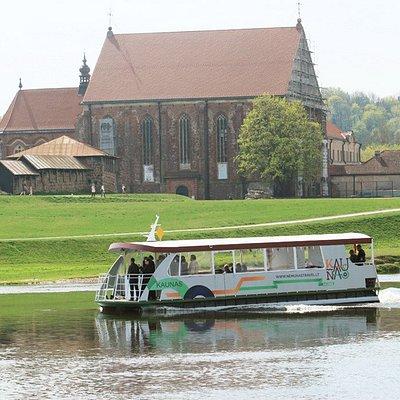 by boat Kaunas, River Neris, near Kaunas castle