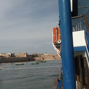 View of upper deck and Akko marina in the background