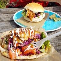 Mexican flatbread and fishfinger bap