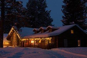 Cozy winter cabin in Montana.