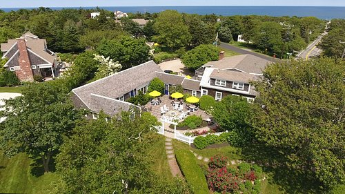 Aerial view of the inn with Nauset Beach in the background