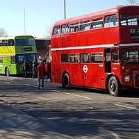 Classic buses lining up outside the museum during a Running Day