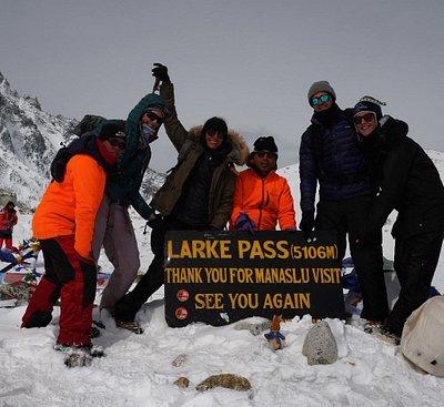 Our group at the top of Larke pass-5106 meters- Manaslu circuit trek