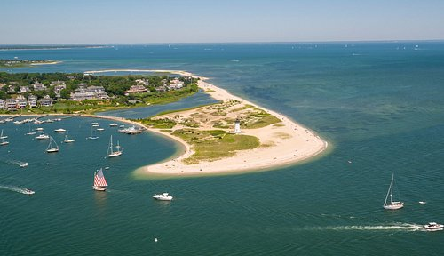 Aerial photo of Edgartown Harbor with Harbor View Hotel and Lighthouse