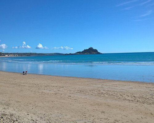 Mounts Bay with sandy beach and St Michael's Mount in background. LoveCornwall with Alvajoan.