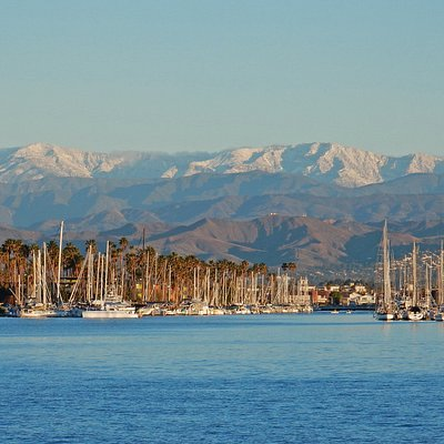This is a great view of the Harbor looking north at the snow capped Topatopa Mountain range.
