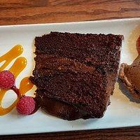 Chocolate fudge cake and ice cream dessert ~ tasted as good as it looks!