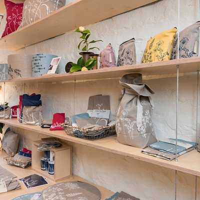 Hand printed linen bread bags, tea towels and other kitchenware