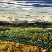 Juniper and Fields, a fiber landscape created by twin artists, Lisa and Lori Lubbesmeyer