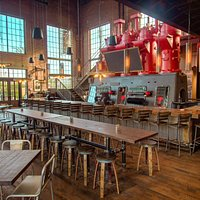 The beautifully designed interior of American Icon Brewery - located in the Historic Diesel Plan