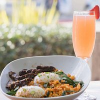 Kimchi Fried Rice and Sous Vide Eggs with a Strawberry Mimosa at Brunch