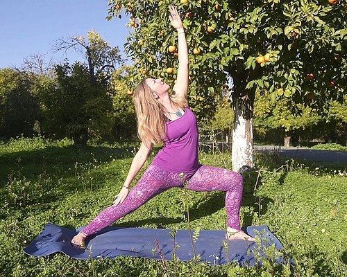 The yoga classes take place surrounded by nature.