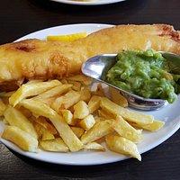 Cod, chips and mushy peas