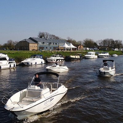 York Marina Hire Fleet with The Waterfront Cafe in the backgorund