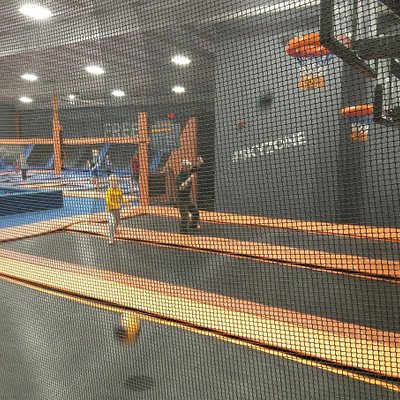 A variety of areas and activities. This one is basketball via trampoline