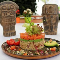 Quinoa salad with smoked salmon and avocados
