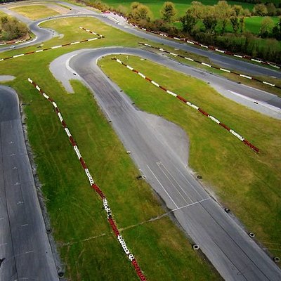 Aerial phot of part of the 1500m track at Pallas Karting, Galway