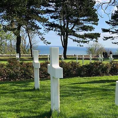 All those white crosses overlooking a very peaceful Omaha beach.