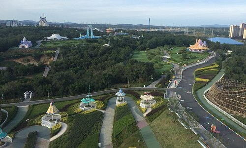 view from the wooden roller coaster