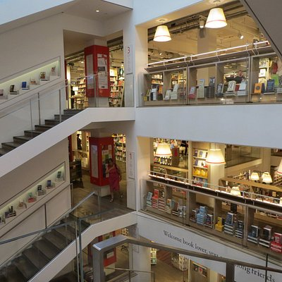 Part of the modern, airy interior of Foyles Bookshop