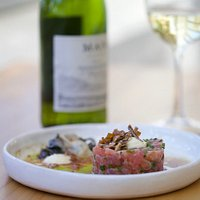 tuna tartare with ponzu, aioli and oyster w MAN Family Wines SB