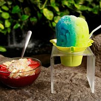 Brazliero Acai Bowl and Blue Raspberry and Lime Shave Ice!