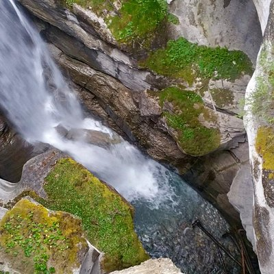 looking down on a waterfall