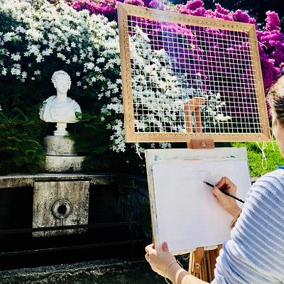 sketch & reflex lake como villa melzi , with master abele , local artist