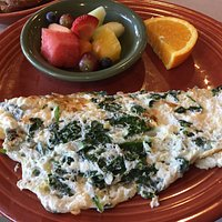 3 White Egg Omelet with Spinach and fresh fruit