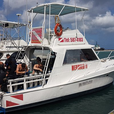 The dive boat is located at the heart of Aruba's capital, Oranjestad, on the peer in front of th