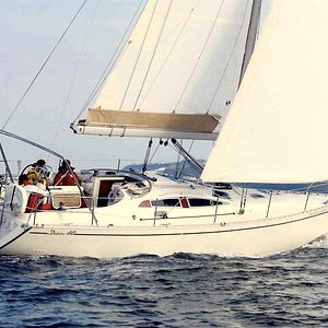 One of the charter boats, Ventis Secundis, on a beautiful afternoon sail