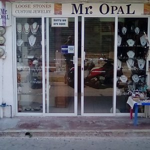 """Mr Opal store front with unique sign: """"SORRY WE ARE OPEN"""""""