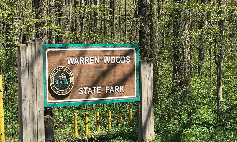 Entrance sign at Warren Woods State Park, MI