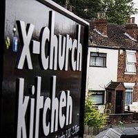x-church kitchen sign