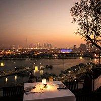 Gusto Italian Restaurant View of the Creek and Dubai Skyline