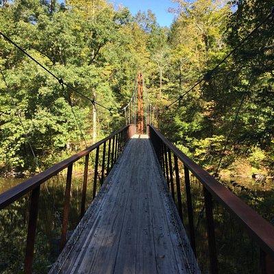 fantastic bridge with etched railings
