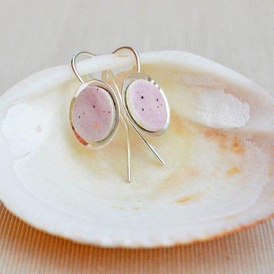 Boucles d'oreilles Mauve rose en Argent