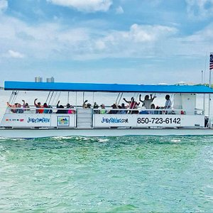 Jolly Dolphin, our 42' tritoon passenger vessel!  Premium Dolphin Cruise and fun trips for all a