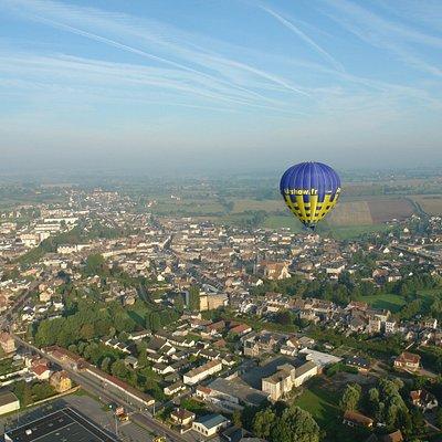 Survol de Gournay en Bray en montgolfière, Picardie