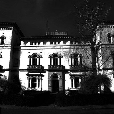 The front of the main asylum building. A very regal and formal facade.